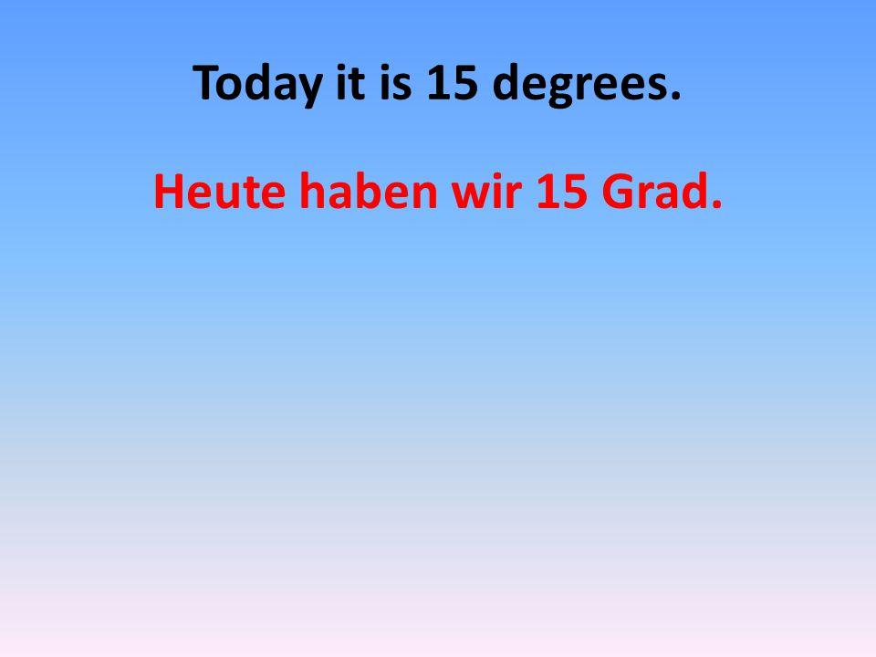 How is the weather today? Wie ist das Wetter Heute?