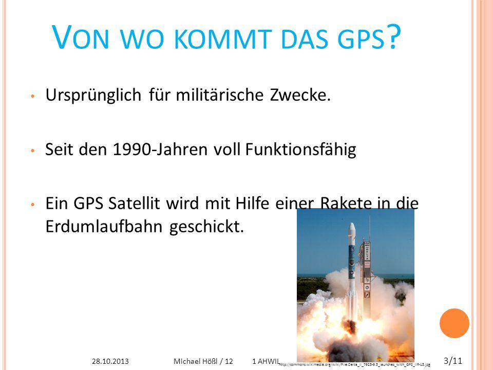 F UNKTIONEN Voraussetzung: mindestens 24 Satelliten in der Erdumlaufbahn  Von 4 Satelliten Signal für Positionsbestimmung Der Satellit:  Geschwindigkeit 3,9 km/s  Höhe ca.