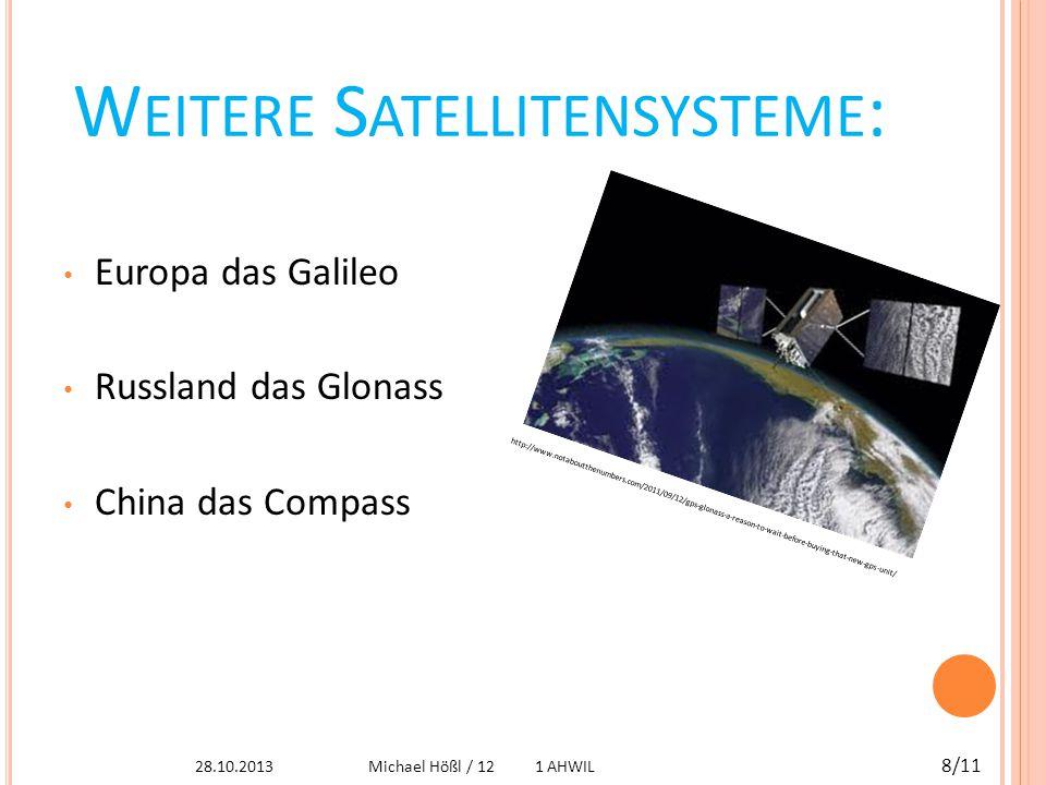 GPS UND D ATENSCHUTZ Der Standort eines Trägers des GPS-Empfängers lässt sich nicht zurückverfolgen GPS-Überwachung: Kombination aus passiven GPS-Empfänger mit aktiven Sender GPS roof antenna dsc06160.jpg 28.10.2013 9/11 Michael Hößl / 12 1 AHWIL