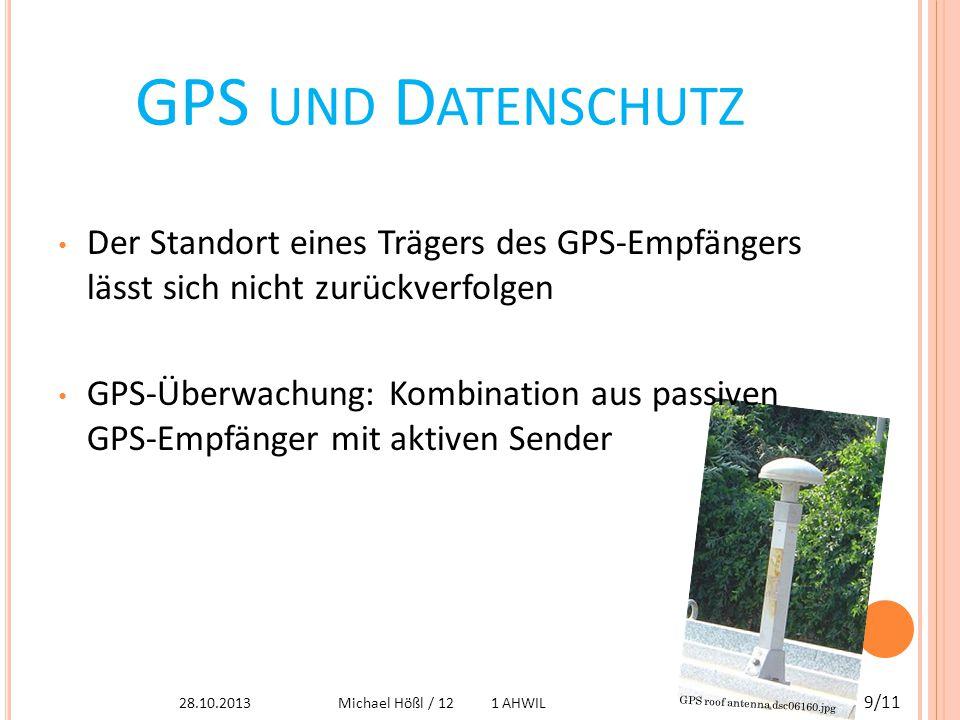 A USBREITUNG DES S IGNALS Breiten sich fast geradlinig aus Wetter beeinflusst Signal Heute ist GPS- Empfang in Gebäuden möglich http://upload.wikimedia.org/wikipedia/commons/9/95/Good_gdop.png 28.10.2013 10/11 Michael Hößl / 12 1 AHWIL