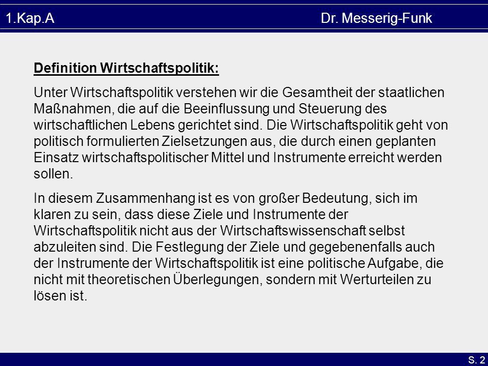 S. 2 1.Kap.A Dr. Messerig-Funk Definition Wirtschaftspolitik: Unter Wirtschaftspolitik verstehen wir die Gesamtheit der staatlichen Maßnahmen, die auf