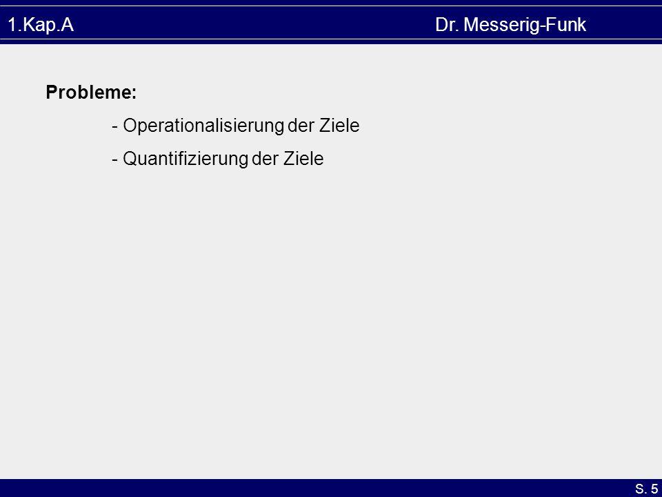 S. 5 1.Kap.A Dr. Messerig-Funk Probleme: - Operationalisierung der Ziele - Quantifizierung der Ziele