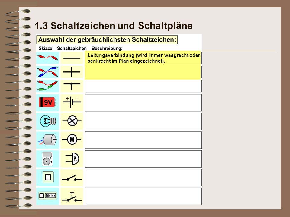 1.3 Schaltzeichen und Schaltpläne Leitungsverbindung (wird immer waagrecht oder senkrecht im Plan eingezeichnet).
