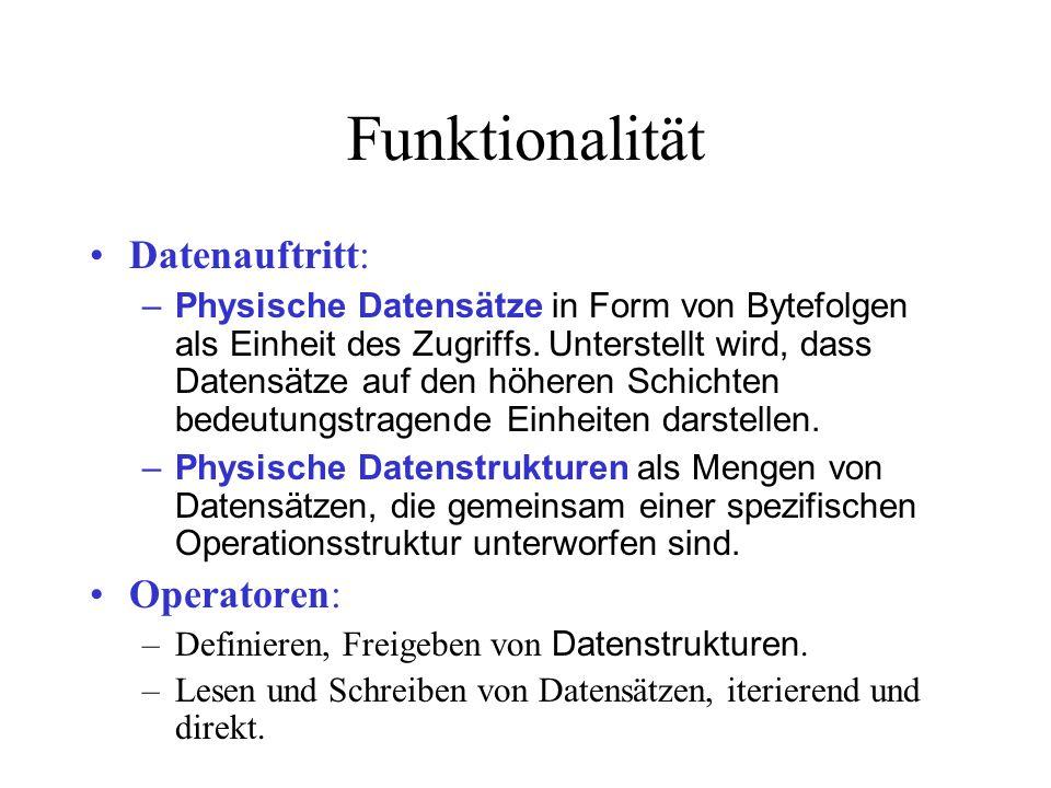 Funktionalität Datenauftritt: –Physische Datensätze in Form von Bytefolgen als Einheit des Zugriffs.
