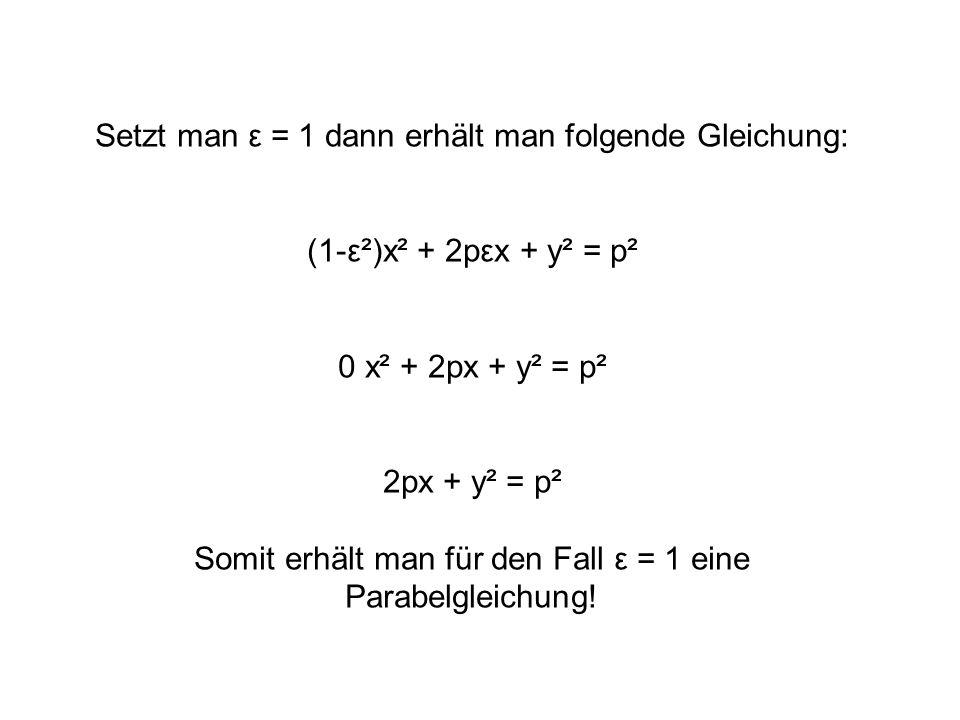 Für ε≠1 kann die ursprüngliche Gleichung: (1-ε²)x² + 2pεx + y² = p² …umgeformt werden zu: (1-ε²)² (x + εp )² + 1- ε² y² = 1 p² 1-ε² p² Am Vorzeichen dieses Terms erkennt man, wann es sich um eine Ellipsengleichung oder eine Hyperbelgleichung handelt.