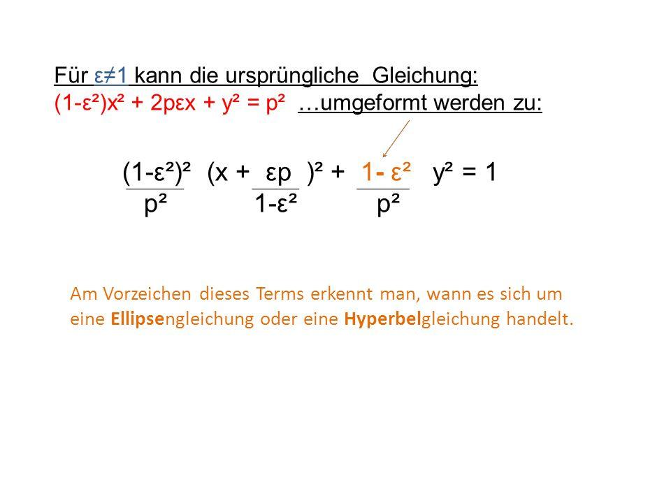 Für ε≠1 kann die ursprüngliche Gleichung: (1-ε²)x² + 2pεx + y² = p² …umgeformt werden zu: (1-ε²)² (x + εp )² + 1- ε² y² = 1 p² 1-ε² p² Am Vorzeichen d