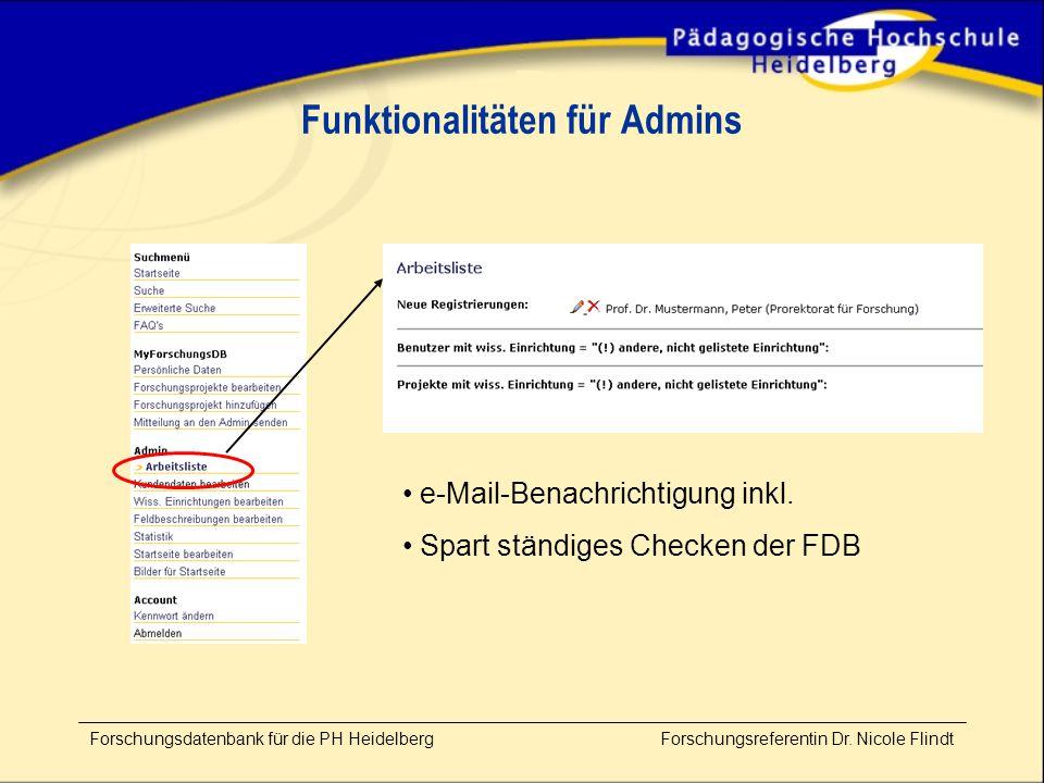 Forschungsdatenbank für die PH Heidelberg Forschungsreferentin Dr.