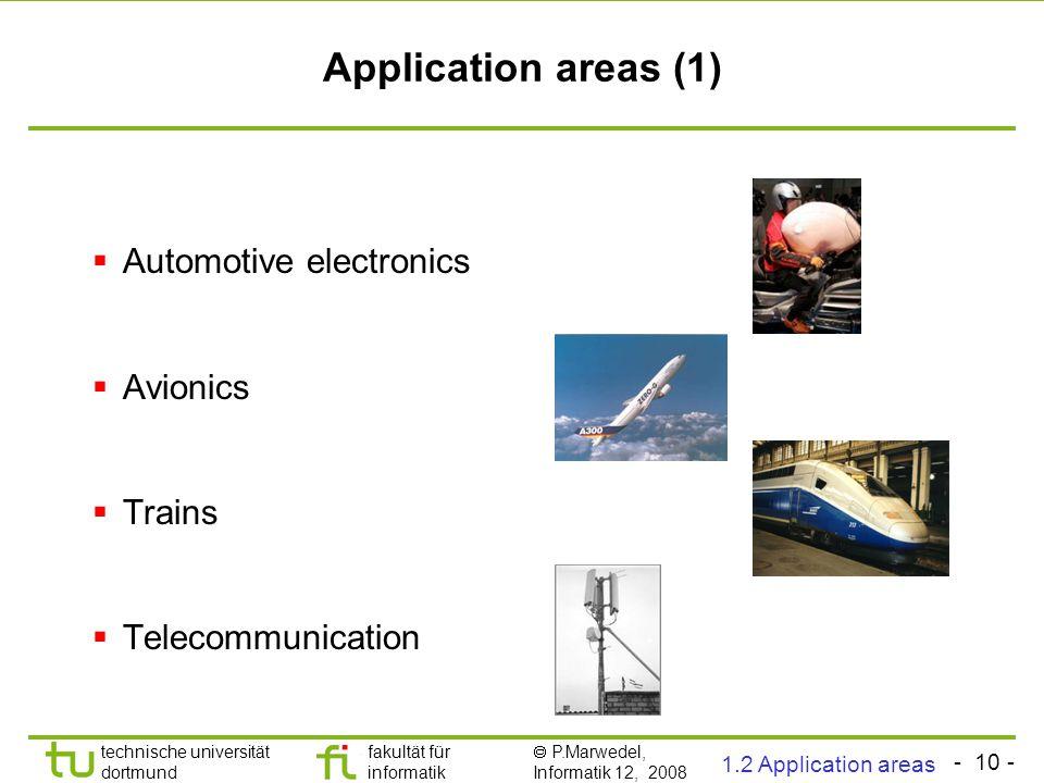 - 10 - technische universität dortmund fakultät für informatik  P.Marwedel, Informatik 12, 2008 Universität Dortmund Application areas (1)  Automoti
