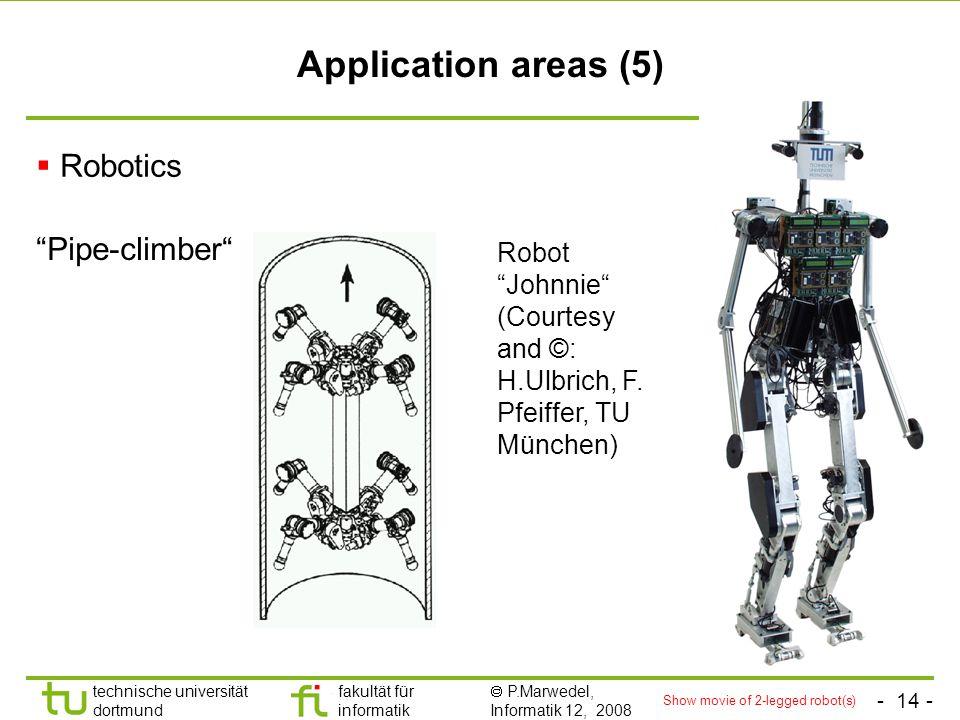 - 14 - technische universität dortmund fakultät für informatik  P.Marwedel, Informatik 12, 2008 Universität Dortmund Application areas (5)  Robotics