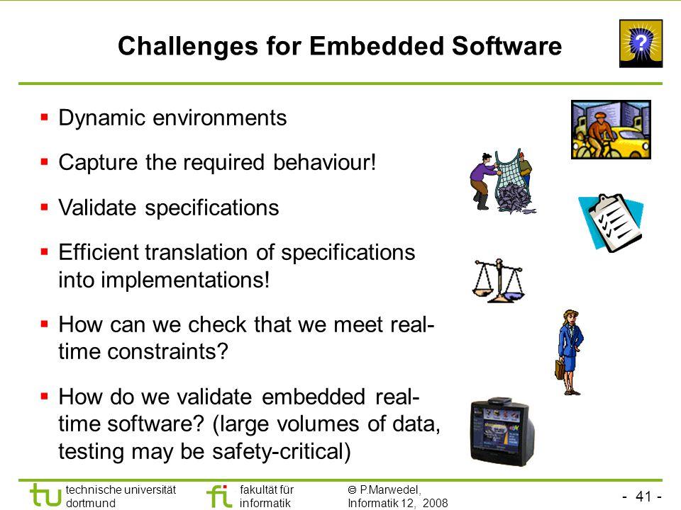 - 41 - technische universität dortmund fakultät für informatik  P.Marwedel, Informatik 12, 2008 Universität Dortmund Challenges for Embedded Software