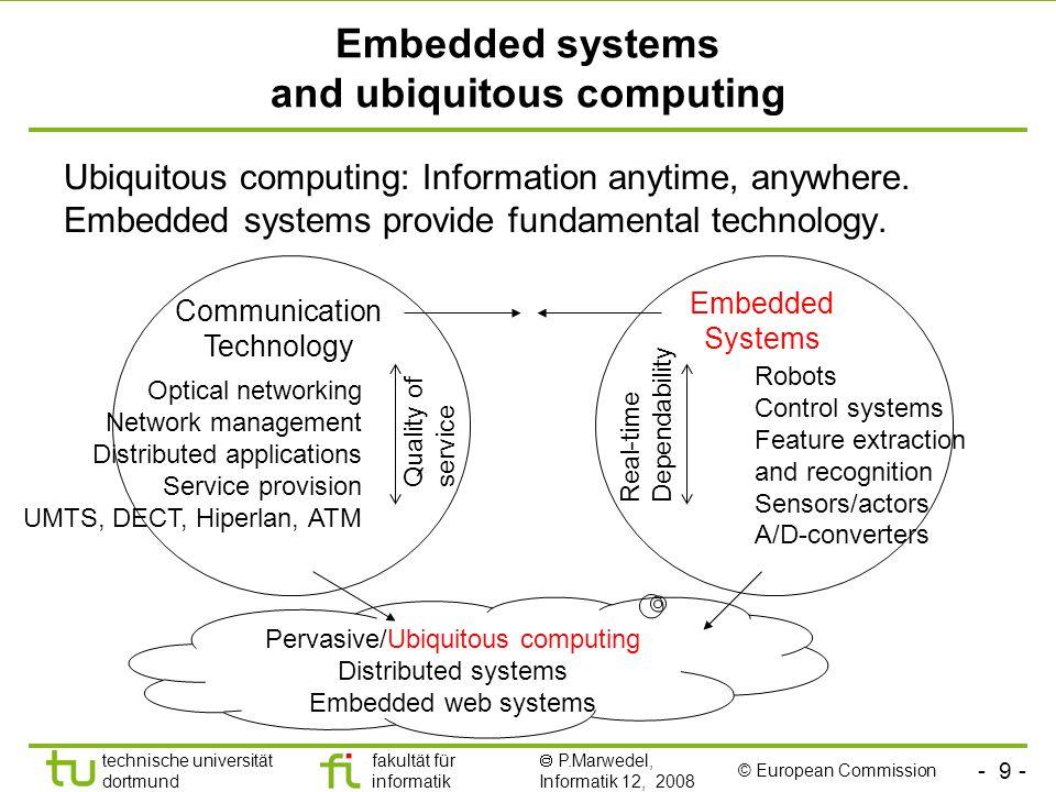 - 9 - technische universität dortmund fakultät für informatik  P.Marwedel, Informatik 12, 2008 Universität Dortmund Embedded systems and ubiquitous c