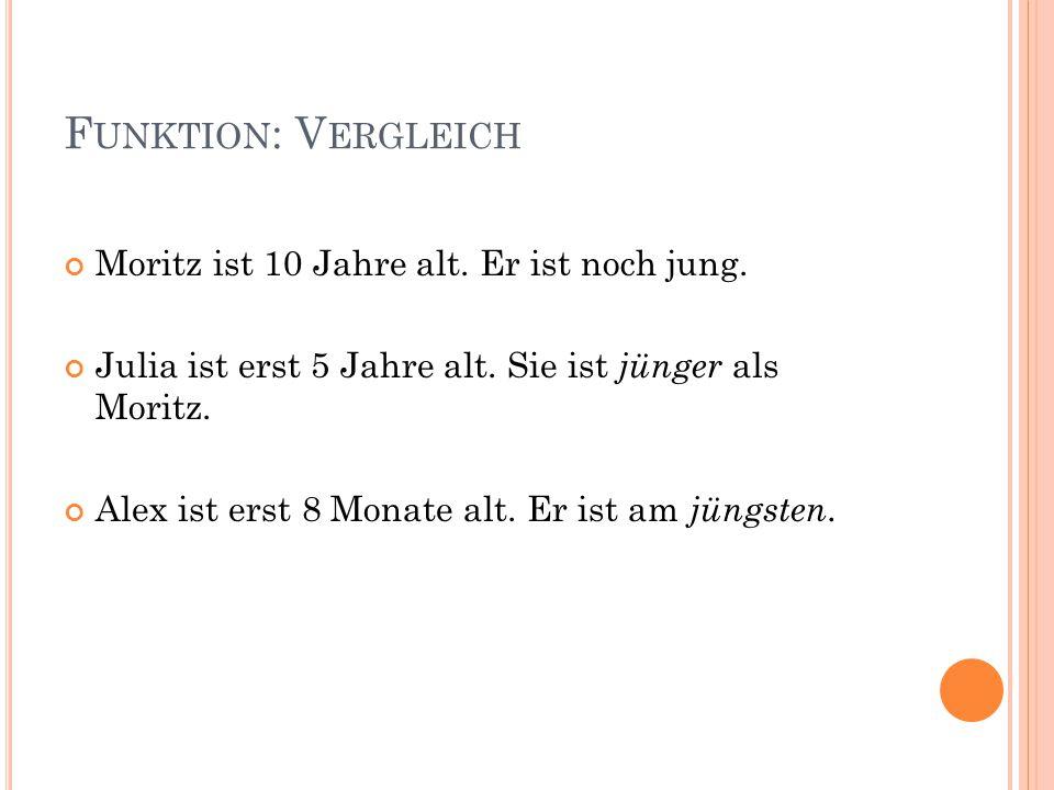 F UNKTION : V ERGLEICH Moritz ist 10 Jahre alt. Er ist noch jung. Julia ist erst 5 Jahre alt. Sie ist jünger als Moritz. Alex ist erst 8 Monate alt. E