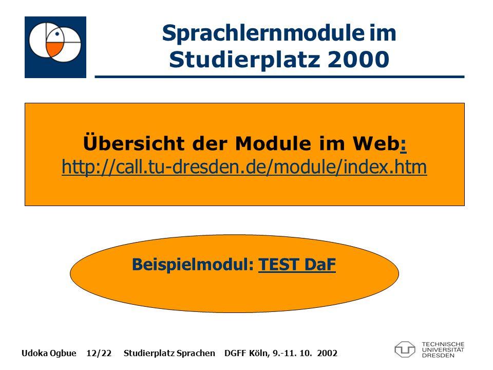 Udoka Ogbue 12/22 Studierplatz Sprachen DGFF Köln, 9.-11. 10. 2002 Sprachlernmodule im Studierplatz 2000 Übersicht der Module im Web : : http://call.t