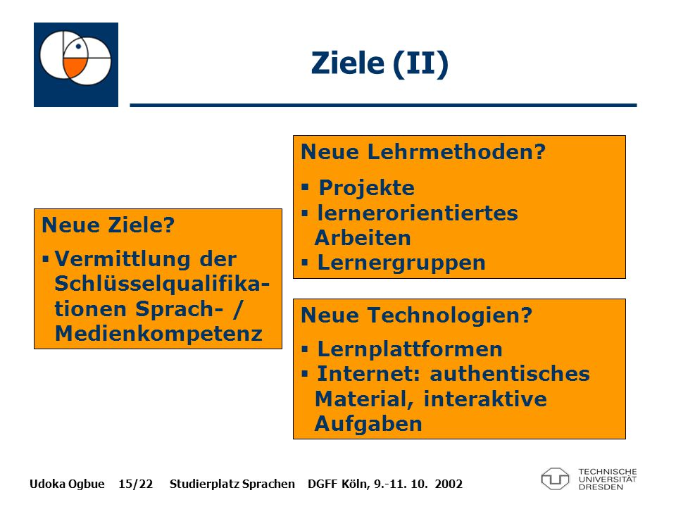 Udoka Ogbue 15/22 Studierplatz Sprachen DGFF Köln, 9.-11. 10. 2002 Ziele (II) Neue Ziele?  Vermittlung der Schlüsselqualifika- tionen Sprach- / Medie