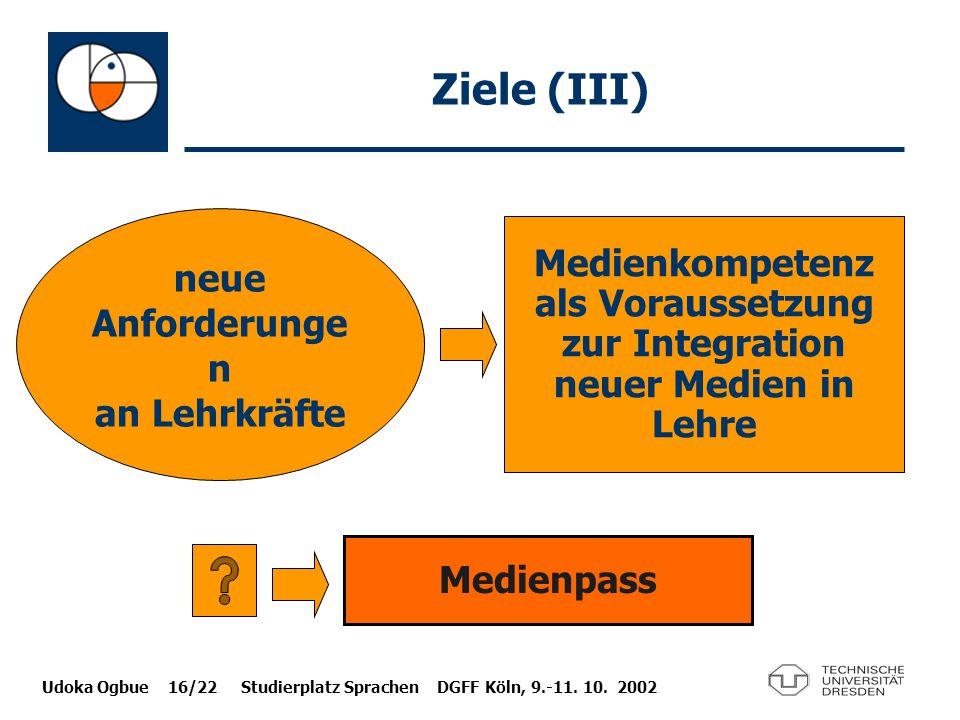 Udoka Ogbue 16/22 Studierplatz Sprachen DGFF Köln, 9.-11. 10. 2002 Ziele (III) neue Anforderunge n an Lehrkräfte Medienkompetenz als Voraussetzung zur