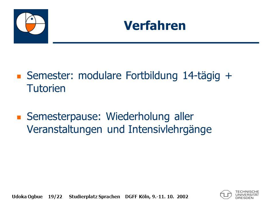 Udoka Ogbue 19/22 Studierplatz Sprachen DGFF Köln, 9.-11. 10. 2002 Verfahren Semester: modulare Fortbildung 14-tägig + Tutorien Semesterpause: Wiederh