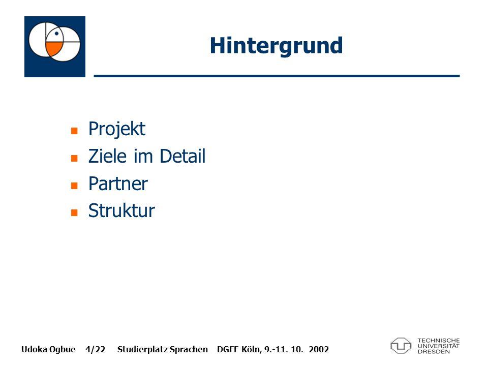 Udoka Ogbue 4/22 Studierplatz Sprachen DGFF Köln, 9.-11. 10. 2002 Hintergrund Projekt Ziele im Detail Partner Struktur