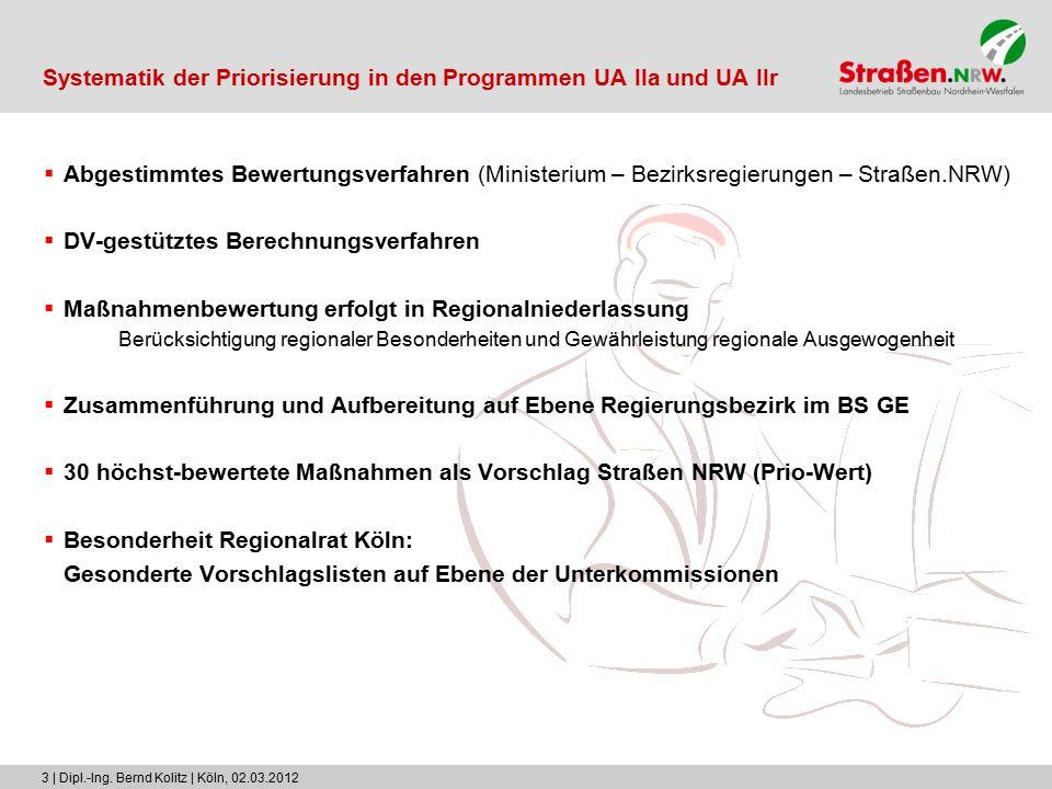 3 | Dipl.-Ing. Bernd Kolitz | Köln, 02.03.2012 Systematik der Priorisierung in den Programmen UA IIa und UA IIr  Abgestimmtes Bewertungsverfahren (Mi