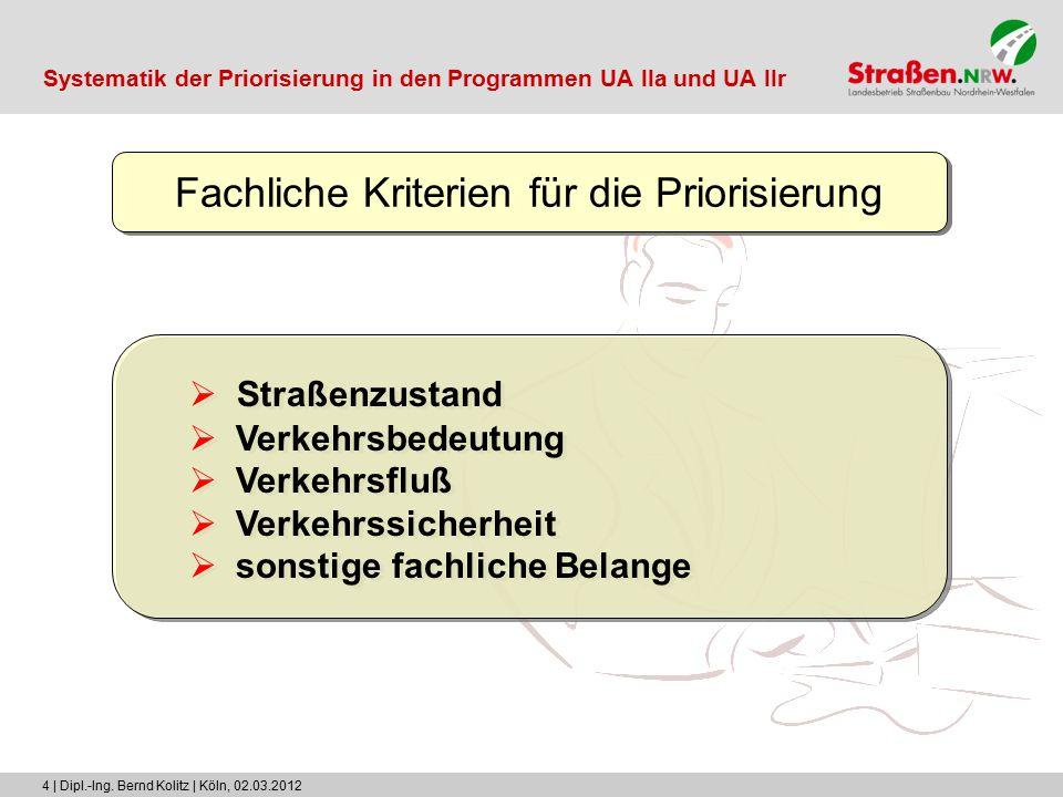 4 | Dipl.-Ing. Bernd Kolitz | Köln, 02.03.2012 Fachliche Kriterien für die Priorisierung  Straßenzustand  Verkehrsbedeutung  Verkehrsfluß  Verkehr
