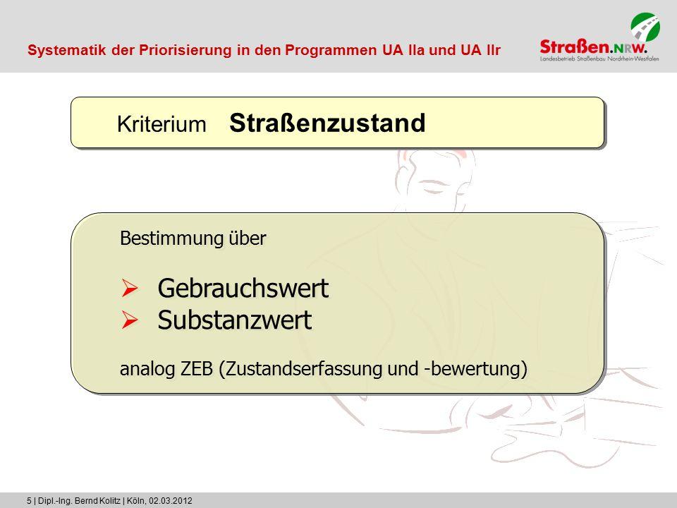 5 | Dipl.-Ing. Bernd Kolitz | Köln, 02.03.2012 Kriterium Straßenzustand Bestimmung über  Gebrauchswert  Substanzwert analog ZEB (Zustandserfassung u