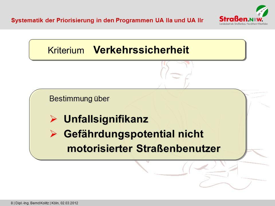 8 | Dipl.-Ing. Bernd Kolitz | Köln, 02.03.2012 Kriterium Verkehrssicherheit Bestimmung über  Unfallsignifikanz  Gefährdungspotential nicht motorisie