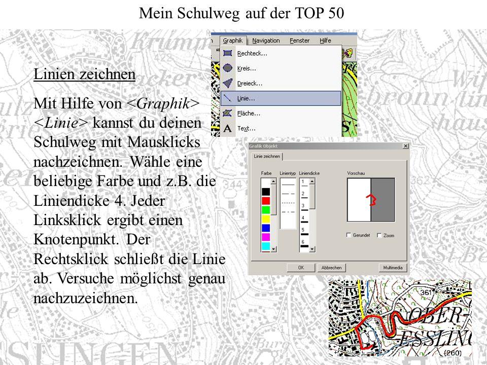 Mein Schulweg auf der TOP 50 Linien zeichnen Mit Hilfe von kannst du deinen Schulweg mit Mausklicks nachzeichnen. Wähle eine beliebige Farbe und z.B.