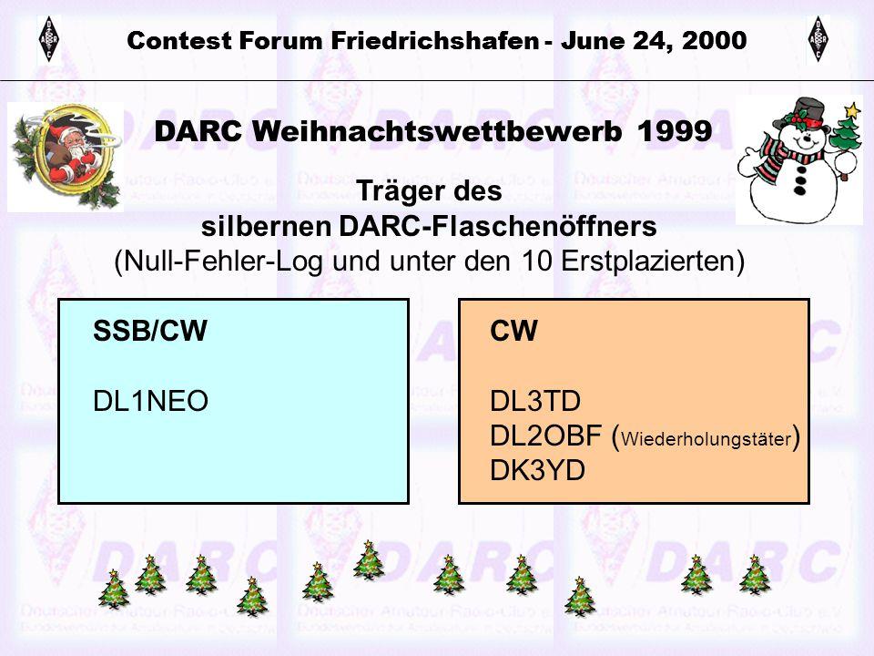 Contest Forum Friedrichshafen - June 24, 2000 DARC Weihnachtswettbewerb 1999 Träger des silbernen DARC-Flaschenöffners (Null-Fehler-Log und unter den