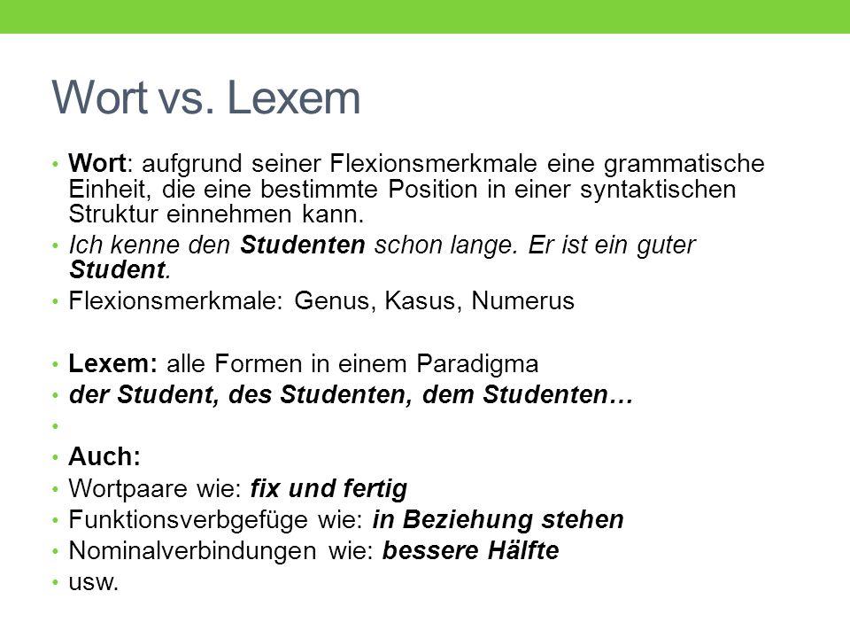 Lemma Lexikographischer Terminus: Lemma (Zitierform) Lemma eines Substantivs: Lemma eines Adjektivs: Lemma eines Verbs:
