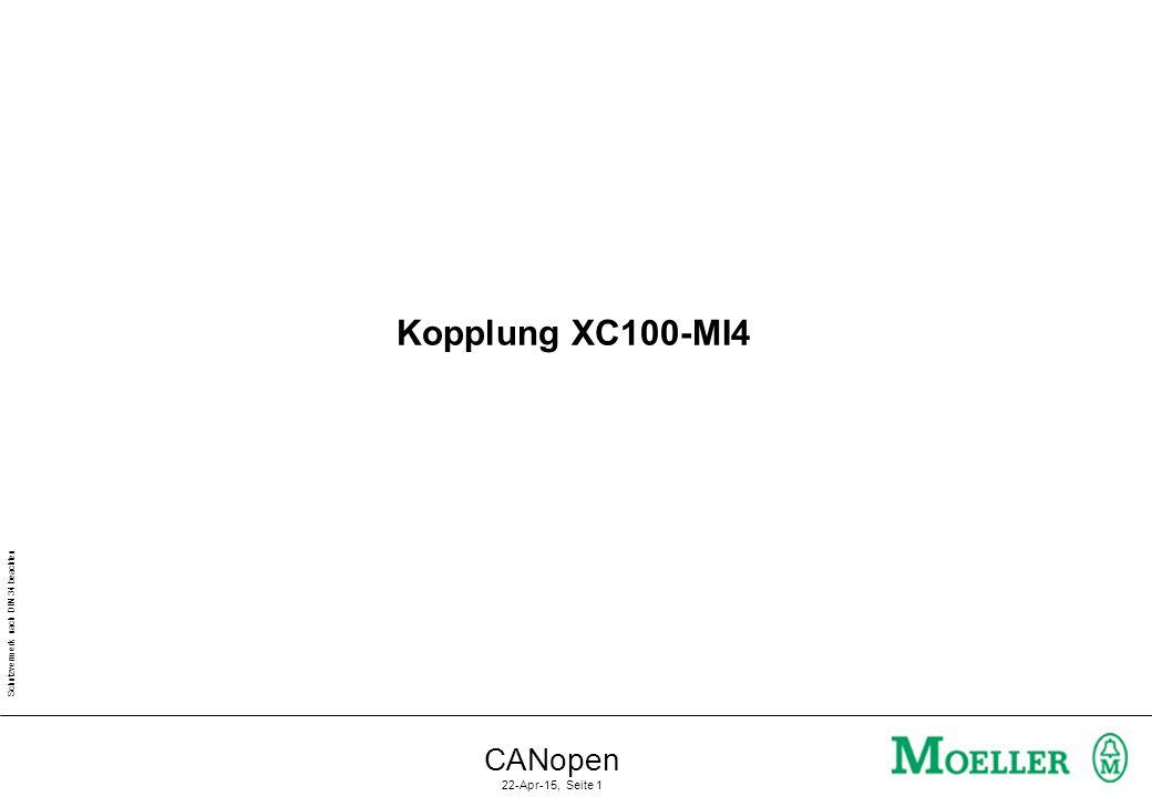 Schutzvermerk nach DIN 34 beachten CANopen 22-Apr-15, Seite 1 Kopplung XC100-MI4