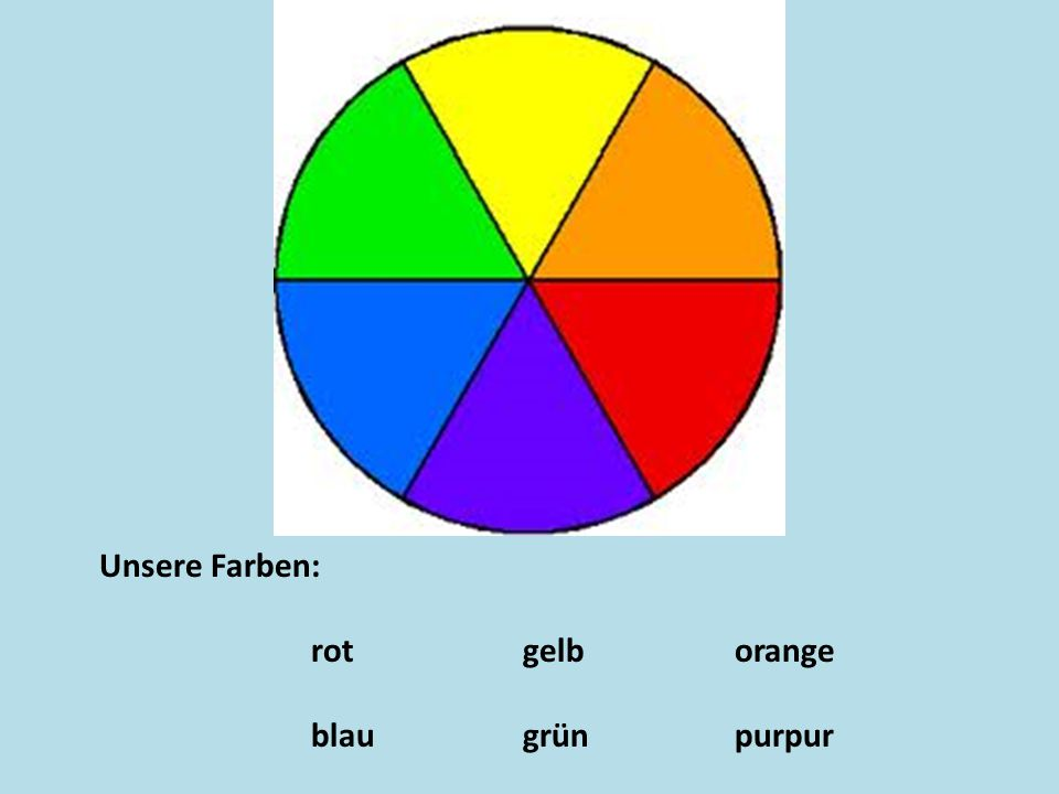 Unsere Farben: rotgelborange blaugrünpurpur