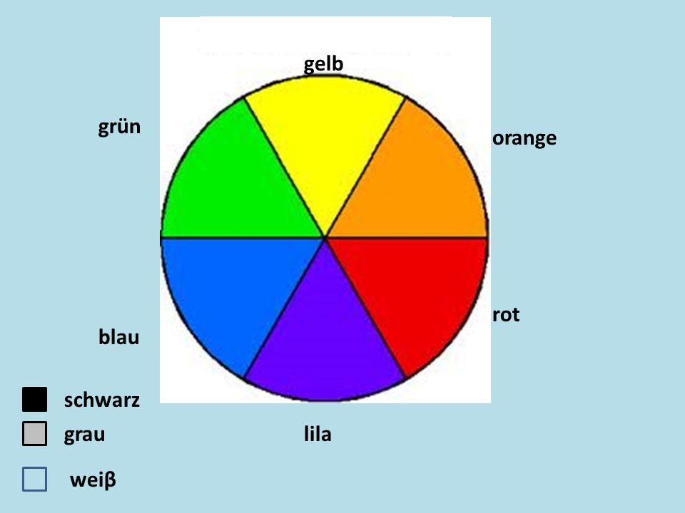 orange gelb rot lila blau grün schwarz weiβ grau