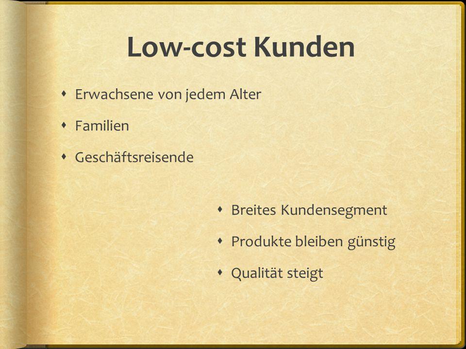 Low-cost Kunden  Breites Kundensegment  Produkte bleiben günstig  Qualität steigt  Erwachsene von jedem Alter  Familien  Geschäftsreisende