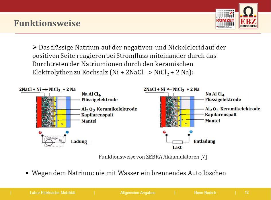 | Labor Elektrische Mobilität |Allgemeine Angaben | Rene Budich | Funktionsweise 12  Das flüssige Natrium auf der negativen und Nickelclorid auf der