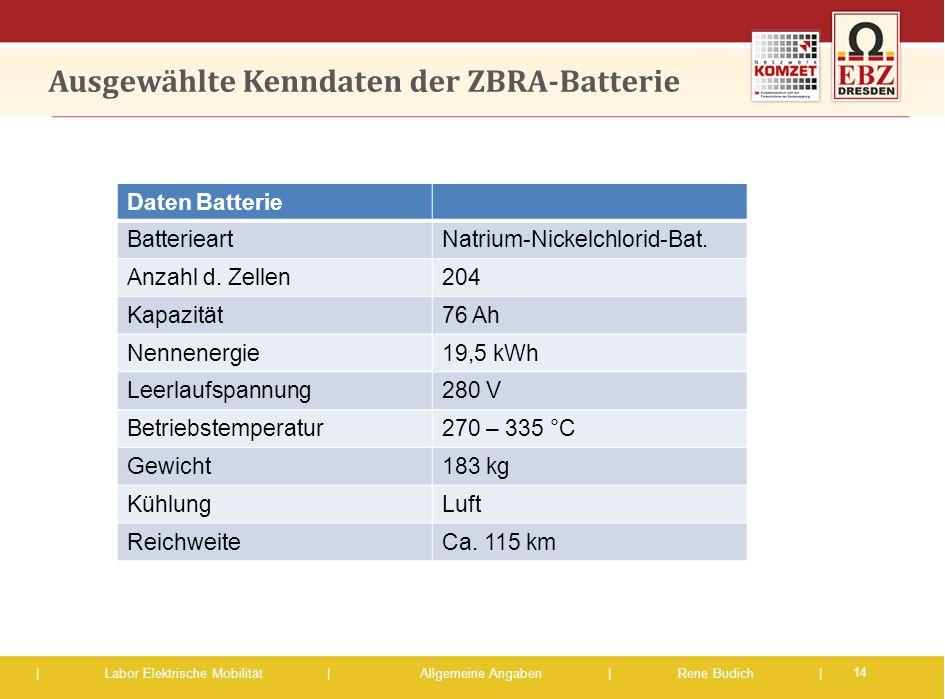 | Labor Elektrische Mobilität |Allgemeine Angaben | Rene Budich | Ausgewählte Kenndaten der ZBRA-Batterie 14 Daten Batterie BatterieartNatrium-Nickelc