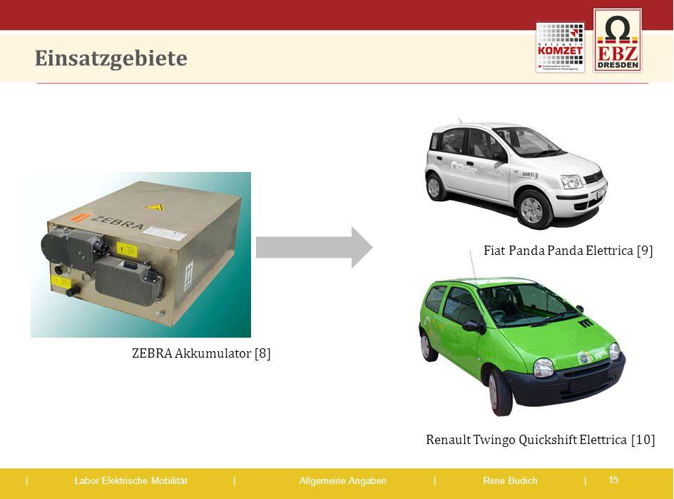 | Labor Elektrische Mobilität |Allgemeine Angaben | Rene Budich | Einsatzgebiete 15 ZEBRA Akkumulator [8] Fiat Panda Panda Elettrica [9] Renault Twing