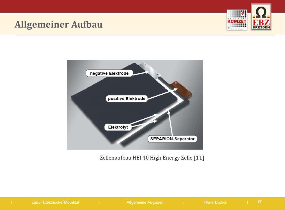 | Labor Elektrische Mobilität |Allgemeine Angaben | Rene Budich | Allgemeiner Aufbau 17 Zellenaufbau HEI 40 High Energy Zelle [11]
