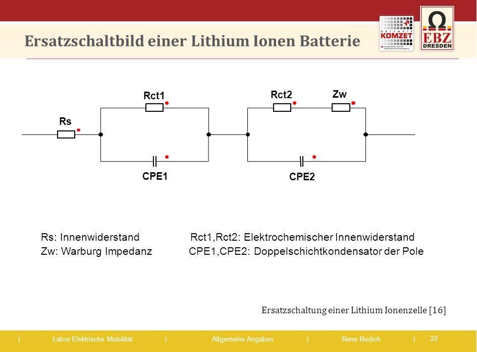 | Labor Elektrische Mobilität |Allgemeine Angaben | Rene Budich | Ersatzschaltbild einer Lithium Ionen Batterie Rs: Innenwiderstand Rct1,Rct2: Elektro