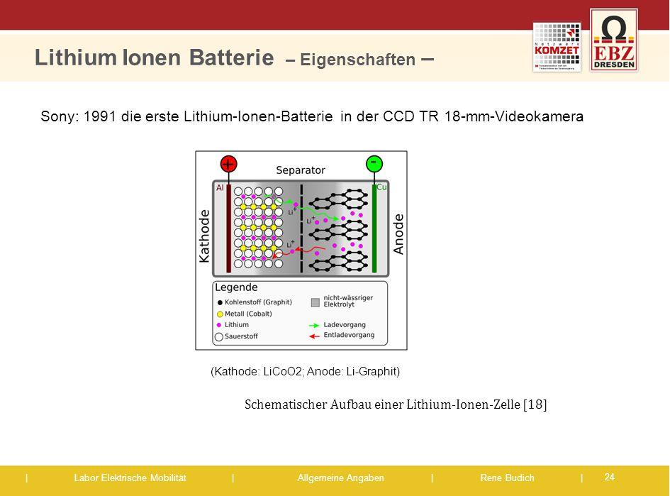 | Labor Elektrische Mobilität |Allgemeine Angaben | Rene Budich | (Kathode: LiCoO2; Anode: Li-Graphit) Sony: 1991 die erste Lithium-Ionen-Batterie in