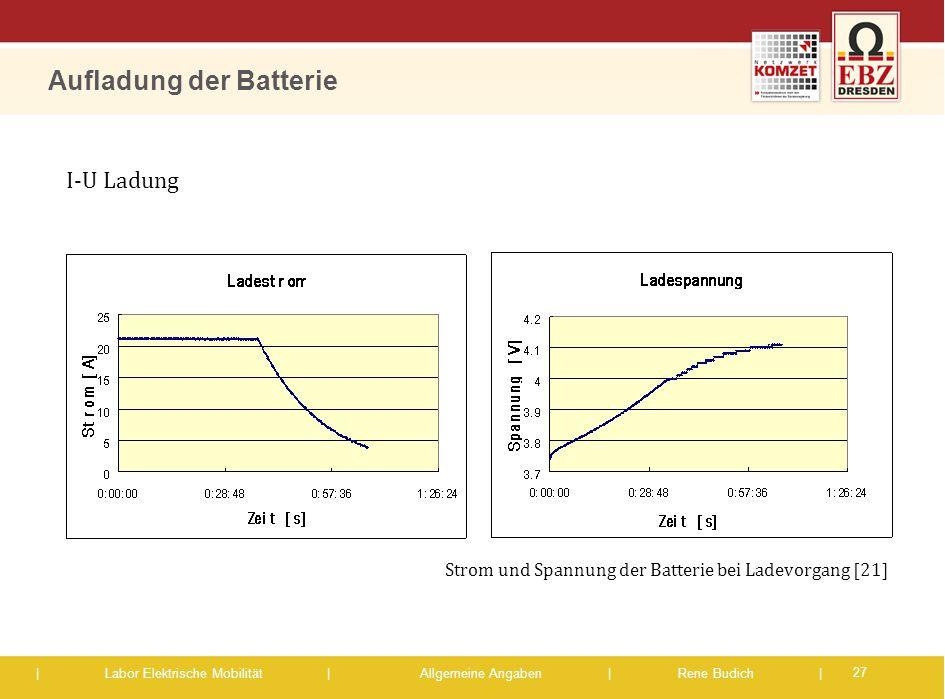 | Labor Elektrische Mobilität |Allgemeine Angaben | Rene Budich | Aufladung der Batterie 27 Strom und Spannung der Batterie bei Ladevorgang [21] I-U L