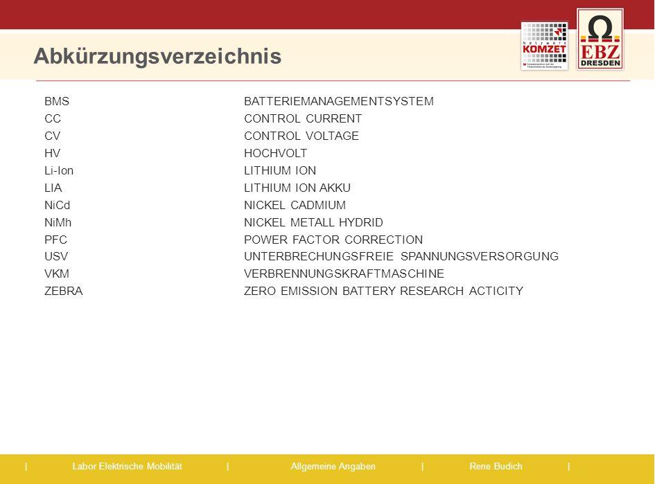   Labor Elektrische Mobilität  Allgemeine Angaben   Rene Budich   Ausgewählte Kenndaten der ZBRA-Batterie 14 Daten Batterie BatterieartNatrium-Nickelchlorid-Bat.