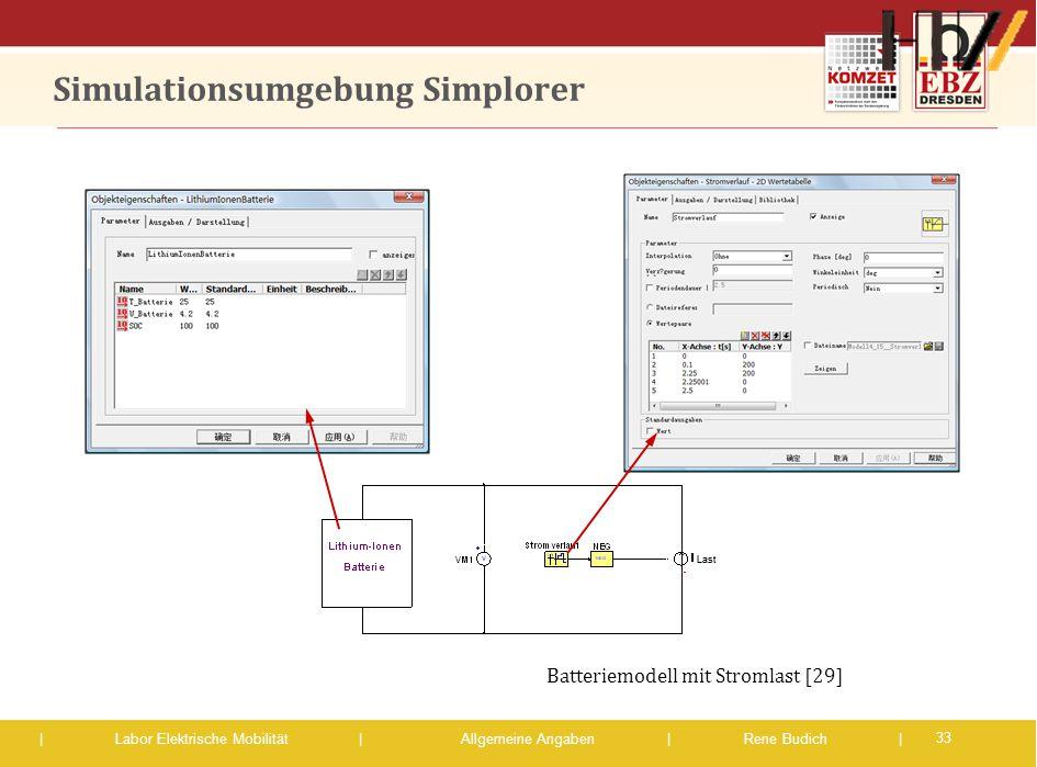 | Labor Elektrische Mobilität |Allgemeine Angaben | Rene Budich | Last Simulationsumgebung Simplorer 33 Batteriemodell mit Stromlast [29]