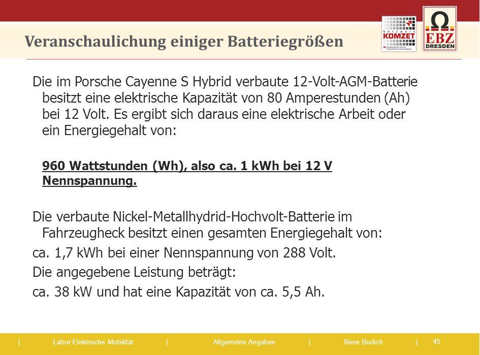 | Labor Elektrische Mobilität |Allgemeine Angaben | Rene Budich | Veranschaulichung einiger Batteriegrößen Die im Porsche Cayenne S Hybrid verbaute 12
