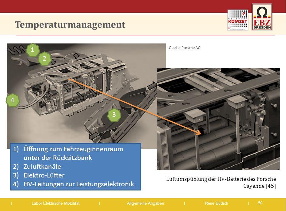 | Labor Elektrische Mobilität |Allgemeine Angaben | Rene Budich | Temperaturmanagement 50 1)Öffnung zum Fahrzeuginnenraum unter der Rücksitzbank 2)Zul