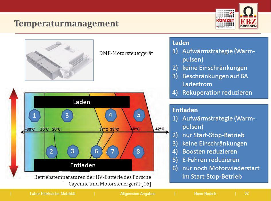 | Labor Elektrische Mobilität |Allgemeine Angaben | Rene Budich | Temperaturmanagement 52 1 2 3 3 45 6 78 DME-Motorsteuergerät Laden Entladen Laden 1)