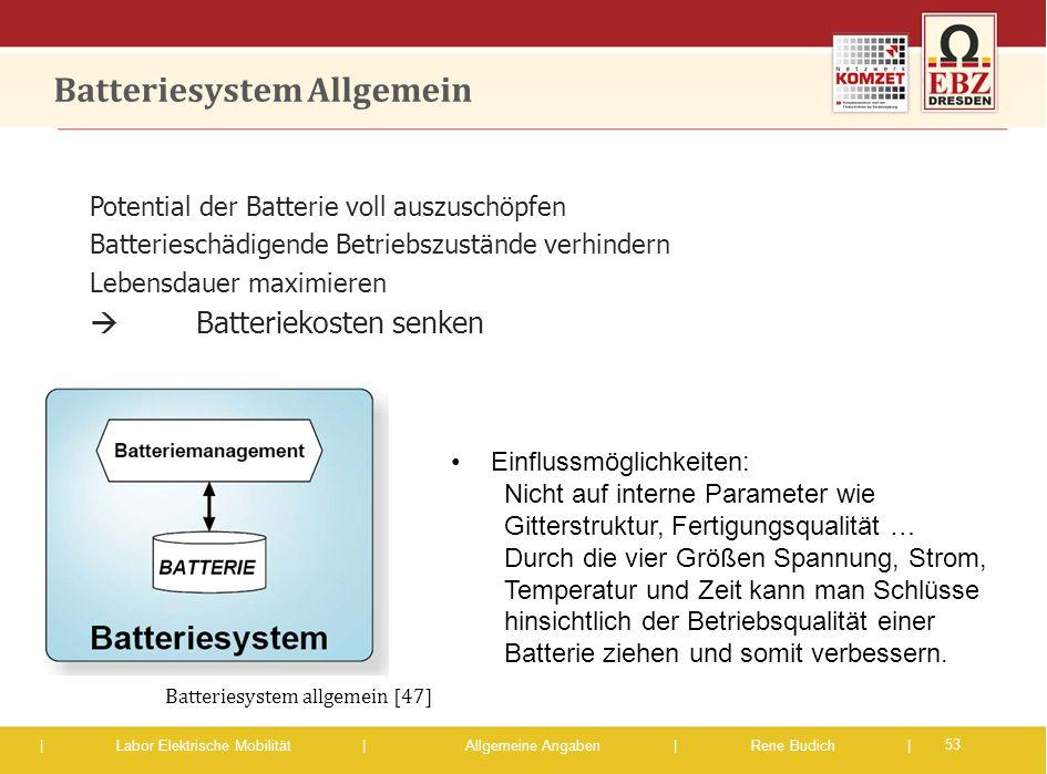 | Labor Elektrische Mobilität |Allgemeine Angaben | Rene Budich | Batteriesystem Allgemein Potential der Batterie voll auszuschöpfen Batterieschädigen