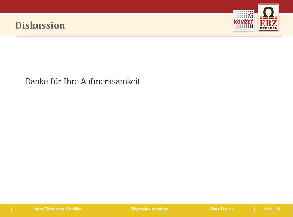 | Labor Elektrische Mobilität |Allgemeine Angaben | Rene Budich | Diskussion Danke für Ihre Aufmerksamkeit Folie: 54