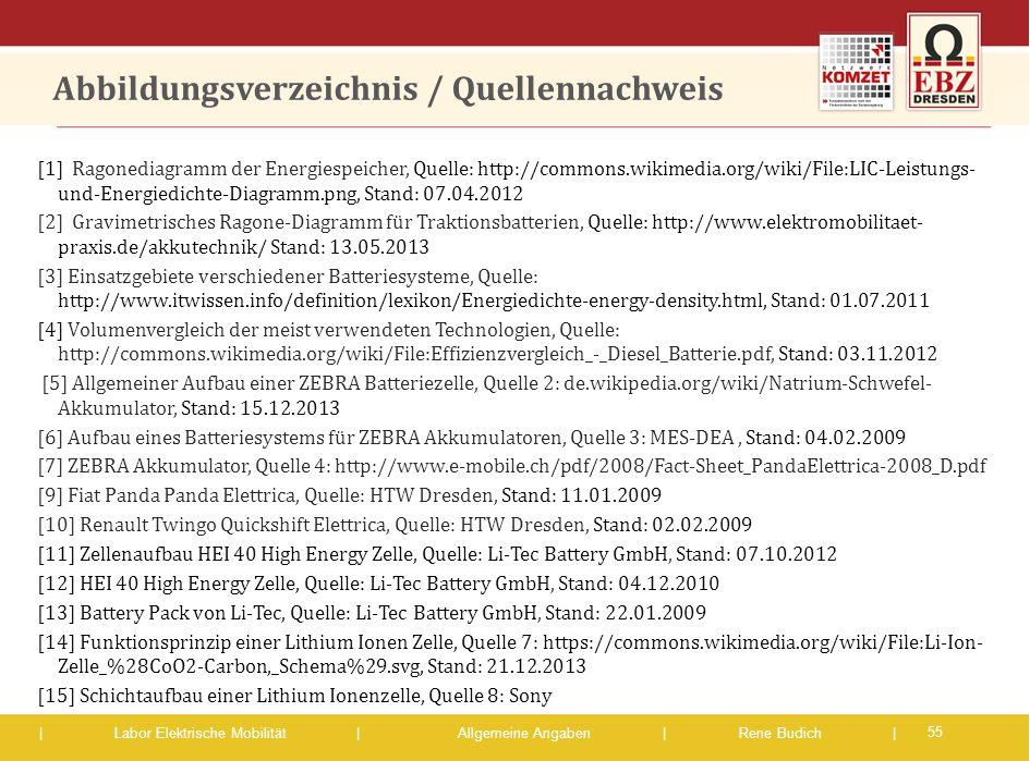 | Labor Elektrische Mobilität |Allgemeine Angaben | Rene Budich | Abbildungsverzeichnis / Quellennachweis [1] Ragonediagramm der Energiespeicher, Quel