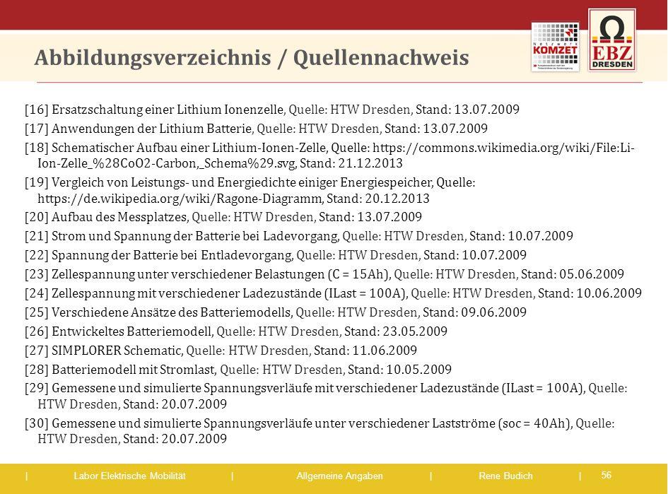 | Labor Elektrische Mobilität |Allgemeine Angaben | Rene Budich | Abbildungsverzeichnis / Quellennachweis [16] Ersatzschaltung einer Lithium Ionenzell
