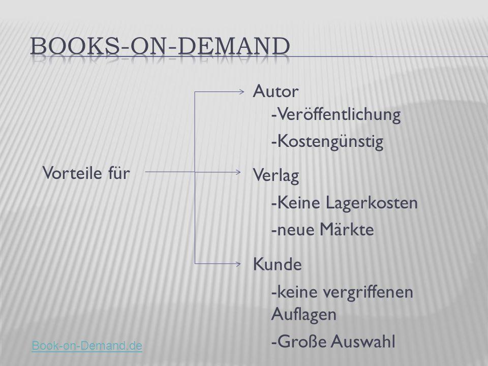 Vorteile für Autor -Veröffentlichung -Kostengünstig Verlag -Keine Lagerkosten -neue Märkte Kunde -keine vergriffenen Auflagen -Große Auswahl Book-on-Demand.de
