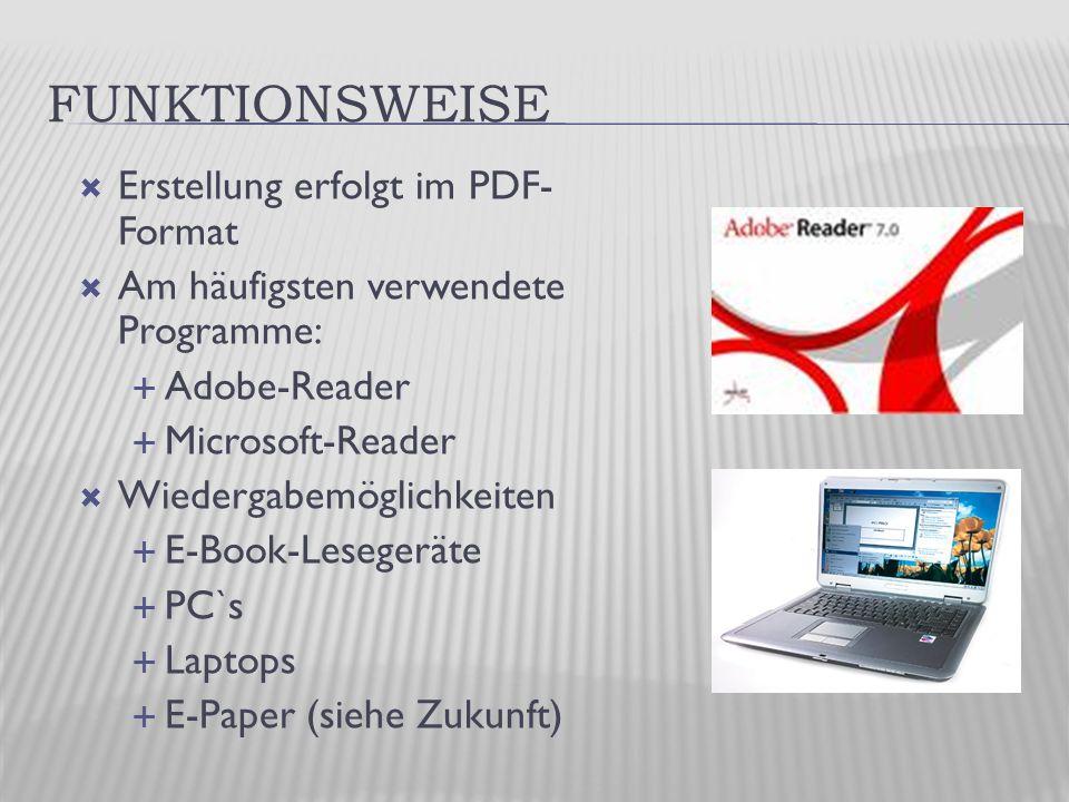 FUNKTIONSWEISE  Erstellung erfolgt im PDF- Format  Am häufigsten verwendete Programme:  Adobe-Reader  Microsoft-Reader  Wiedergabemöglichkeiten  E-Book-Lesegeräte  PC`s  Laptops  E-Paper (siehe Zukunft)